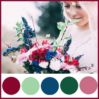 Wedding Colour Theme: Blue, Sage Green, Maroon, Forest Green and Dark Lilac