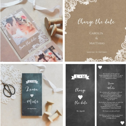 Wedding Date Change Announcement Cards