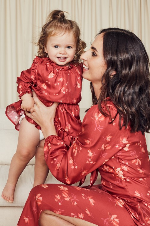 Matching Fashion for Mother and Daughter - Red Satin Dresses