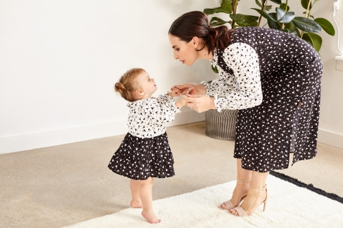 Matching outfit for mother and a toddler, black and white